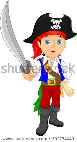 jovem · pirata · espada · isolado · branco - foto stock © elnur