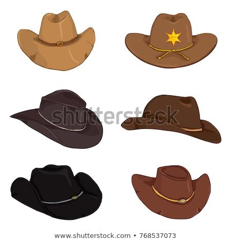 ковбойской шляпе изолированный белый фон Cowboy Vintage Сток-фото © OleksandrO