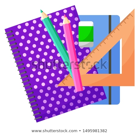Notebook potlood gum witte achtergrond kleur Stockfoto © OleksandrO