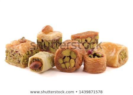 オリエンタル · 甘い · 異なる · お菓子 · 木製のテーブル · 背景 - ストックフォト © PetrMalyshev