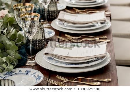 Celebrazione menu carta forcella arco tavolo in legno Foto d'archivio © marimorena