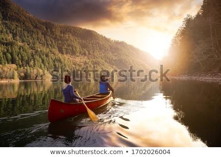 Kano Blauw houten eenvoudige ontwerp schip Stockfoto © bluering