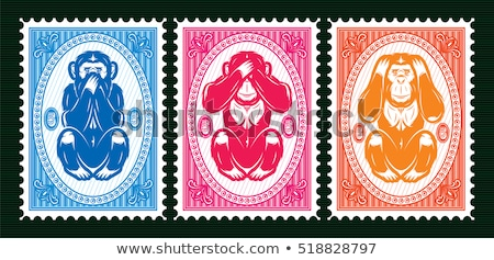 Set of colorful postage stamps Stock photo © SwillSkill
