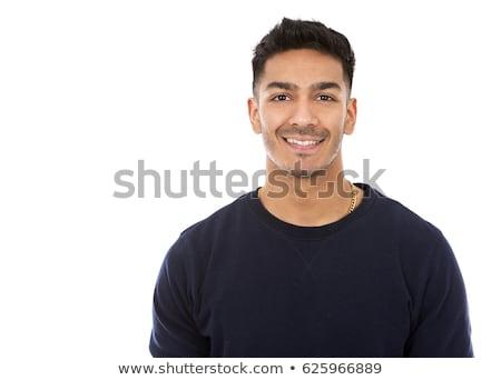fitness east asian man on dark grey background Stock photo © zdenkam