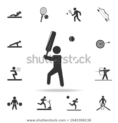Dois críquete jogadores jogar branco ilustração Foto stock © bluering