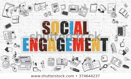 Social compromiso garabato diseno blanco Foto stock © tashatuvango