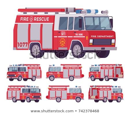 пожарная машина автомобилей Cartoon стиль большой красный Сток-фото © MaryValery