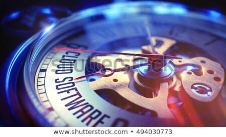 cloud software   wording on vintage pocket clock 3d stock photo © tashatuvango