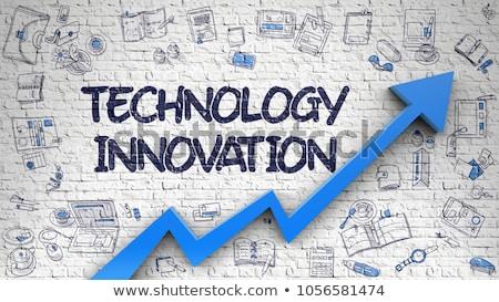 Technológia innováció fehér téglafal firka ikonok Stock fotó © tashatuvango