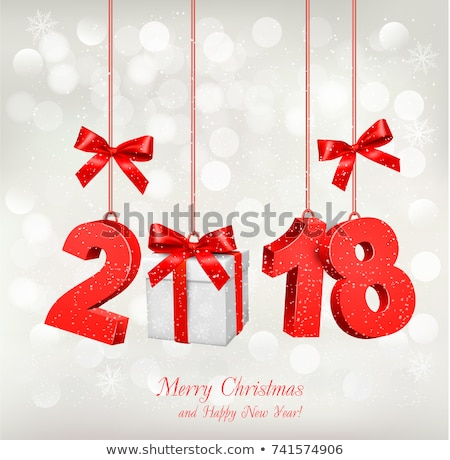 vector happy new year 2018 illustration with gift box and 3d number on shiny red background holiday stock photo © articular