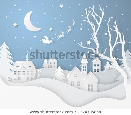 Cervo carta arte Natale neve Foto d'archivio © Krisdog