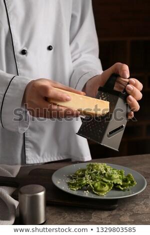 Kezek szakács ravioli közelkép étel konyha Stock fotó © ssuaphoto