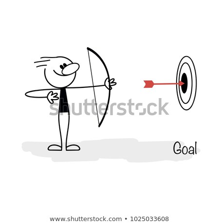 Stick figure aims with bow and arrow at a target Stock photo © Ustofre9