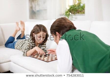 Stock fotó: Kislány · férfi · játék · ül · stratégia · szabadidő