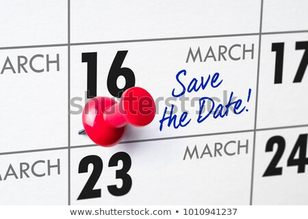 Mur calendrier rouge broches 16 affaires Photo stock © Zerbor