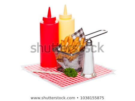 Stockfoto: Basket Of Freshly Made Southern Fries With Ketchup