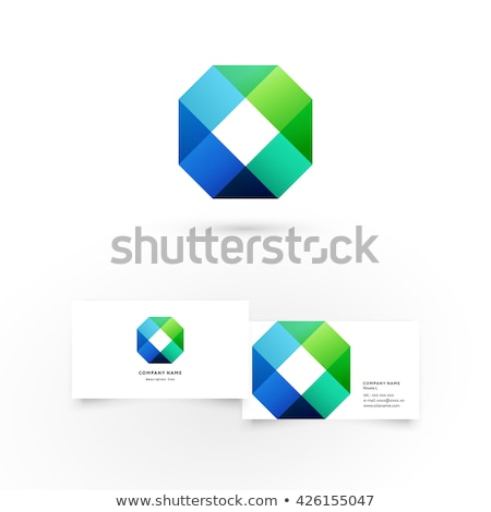 名刺 テンプレート 緑 六角形 ロゴ 創造 ストックフォト © studioworkstock