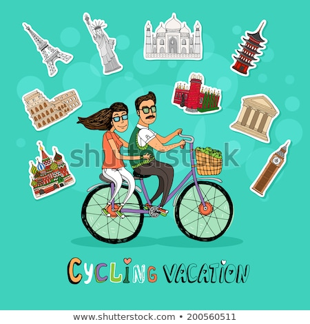 england couple of cyclists on bicyclevector illustration   ill stock photo © nikodzhi