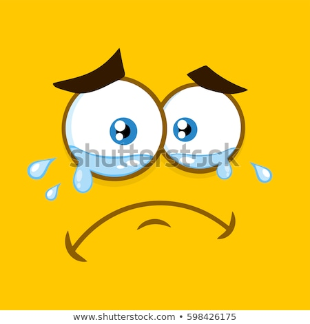 Huilen cartoon vierkante tranen gezicht Stockfoto © hittoon