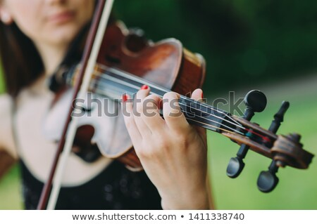young woman playing folk violin Stock photo © Giulio_Fornasar