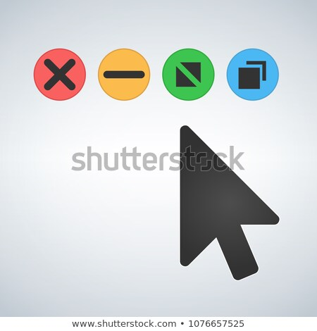 OS or Web multicolor buttons with mouse cursor  Close