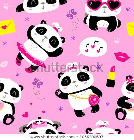 young girl with pandas Stock photo © bluering