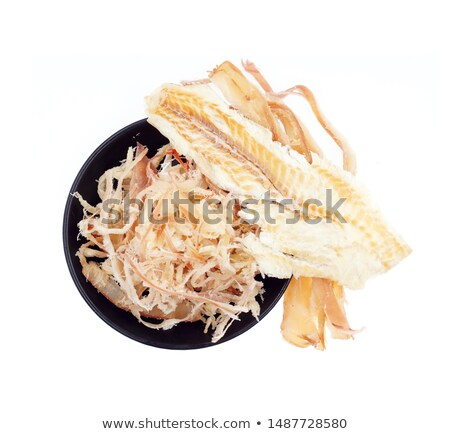 Stock photo: dried squids on white background