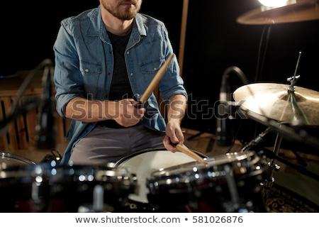 zenész · játszik · dob · készlet · koncert · fények - stock fotó © dolgachov
