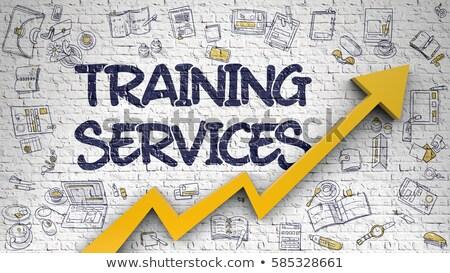 ストックフォト: 訓練 · 白 · レンガの壁 · 教育 · サービス