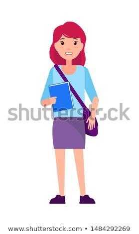 freshman first year sudent girl in purple skirt stock photo © robuart
