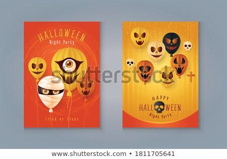sütőtök · halloween · meglepetés · papír · levelek · ki - stock fotó © ustofre9