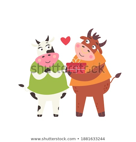 Cartoon buffalo wings liefde illustratie jonge glimlachend Stockfoto © cthoman