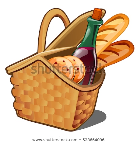 Picnic wicker basket with food product, oatmeal cookies, bottle of wine, fresh loaf isolated on whit Stock photo © Lady-Luck