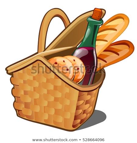 плетеный · вино · корзины · иллюстрация · бутылку - Сток-фото © lady-luck