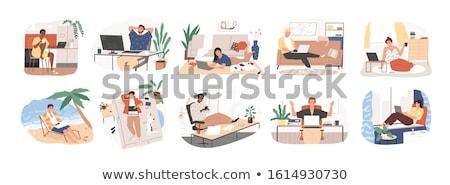 сердиться · работник · месте · Cartoon · человека · работу - Сток-фото © robuart