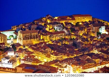 Dubrovnik velho centro telhados noite Foto stock © xbrchx