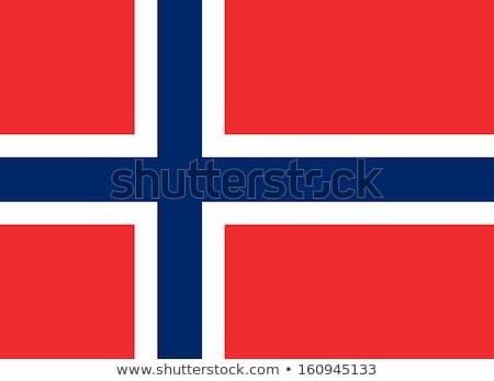 Noruega bandera blanco fondo azul viento Foto stock © butenkow