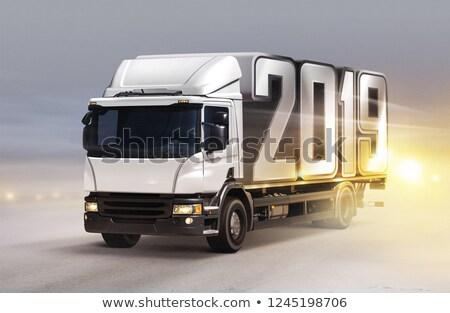 vrachtwagen · ijs · weg · sneeuwstorm · vracht · container - stockfoto © ssuaphoto