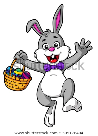 cartoon easter bunny waving stock photo © cthoman