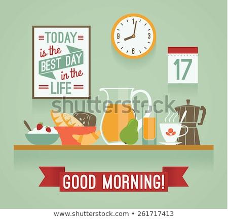 koffiemok · croissant · ontbijt · vector · illustratie · geïsoleerd - stockfoto © margolana