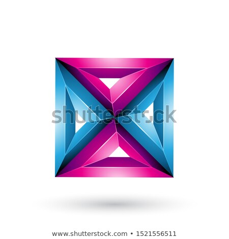 Stock photo: Blue and Magenta 3d Geometrical Embossed Square and Triangle Sha