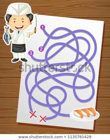Cartoon labirinto gioco chef sushi illustrazione Foto d'archivio © izakowski