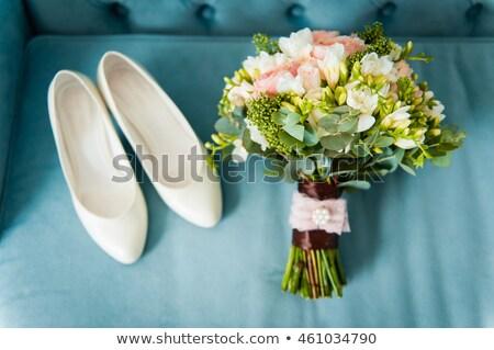 esküvői · csokor · koszorúslány · cipők · kék · virágok · rózsa - stock fotó © ruslanshramko