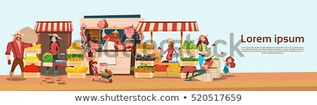 farmer selling meat products vector illustration stock photo © robuart