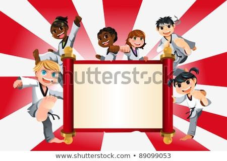 Cartoon karate kid banner illustratie kinderen Stockfoto © cthoman