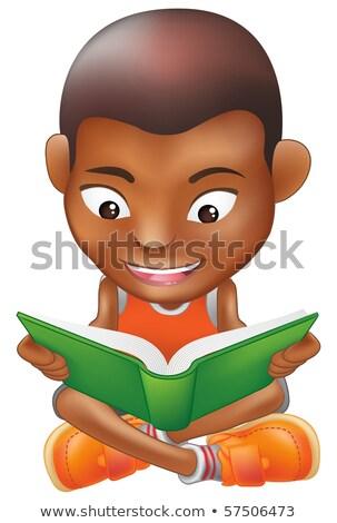 Black, Afro American Boy Kindergarten Kid Vector. Little Child On Playground. Having Fun. For Advert Stock photo © pikepicture