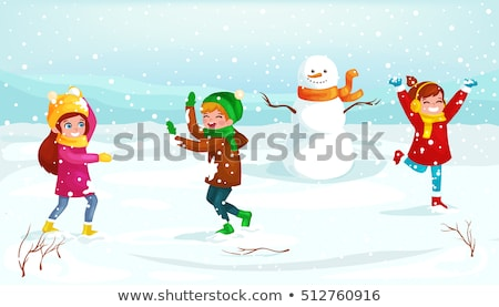 merry christmas wintertime activities kids playing stock photo © robuart