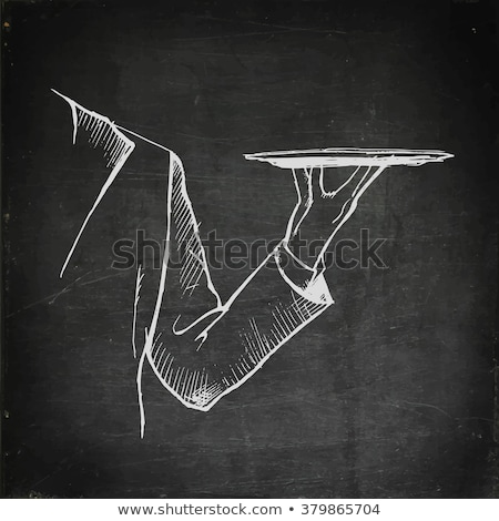 Mão vazio bandeja prata Foto stock © AndreyPopov