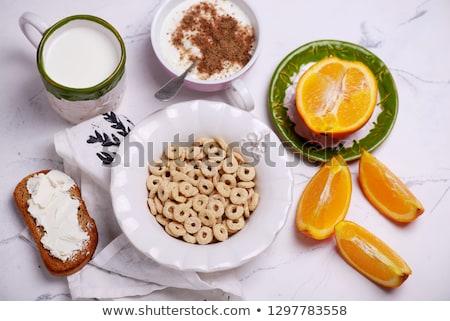 Kahvaltı gevreği stil bağbozumu gıda beyaz yaşam tarzı Stok fotoğraf © zoryanchik