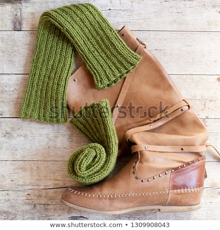 ブラウン 革 高い ブート 編まれた 緑 ストックフォト © marylooo